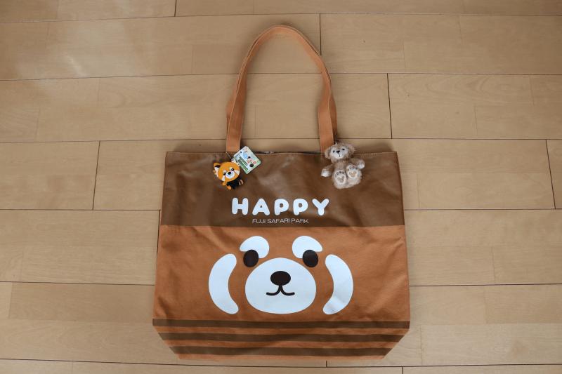 富士サファリパークのおみやげレッサーパンダのトートバッグ表
