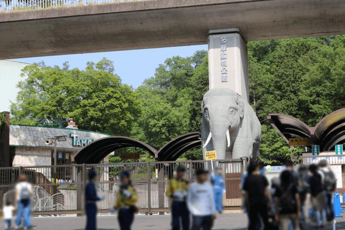 多摩動物公園入口の開園前の様子
