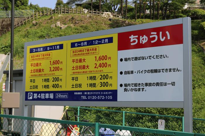 多摩動物公園に近い(株)京王ストア第4駐車場の料金表
