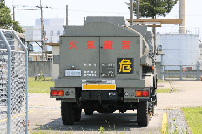 陸上自衛隊北宇都宮駐屯地開設記念イベントに展示中の燃料タンク車