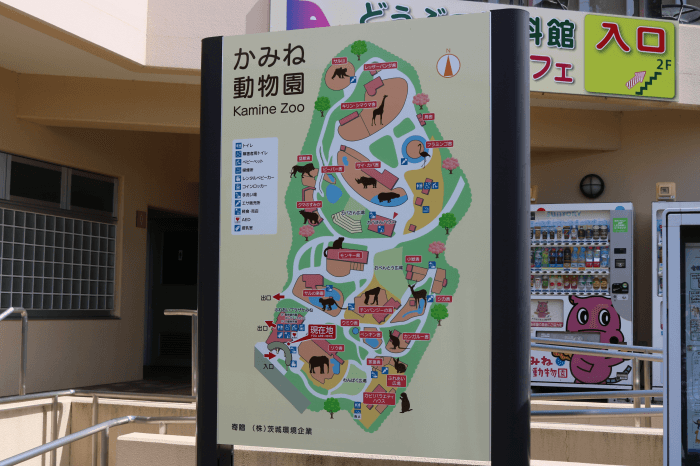 日立市かみね動物園のマップ