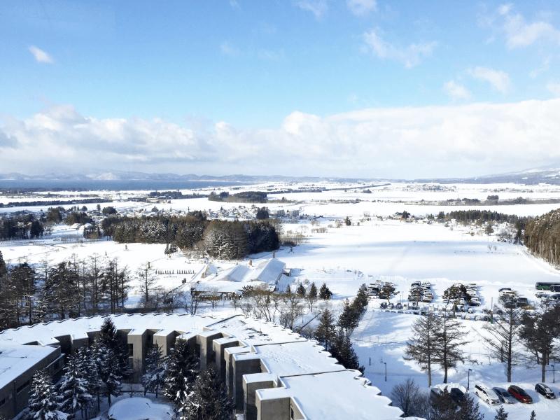 ホテルリステル猪苗代ウイングタワーから見た猪苗代湖(レイクビュー最高!)