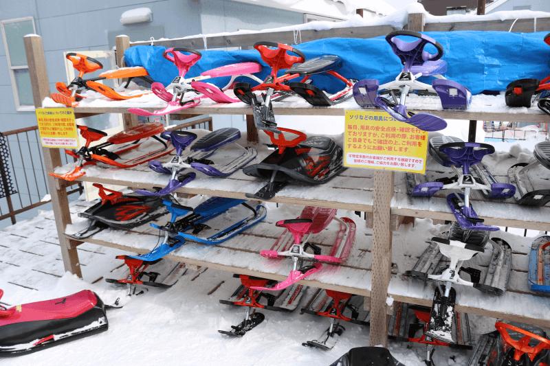ハンターマウンテン塩原スキー場のそり置き場