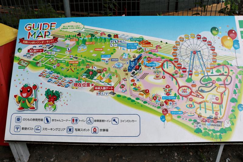 関東の遊園地「むさしの村」のガイドマップ