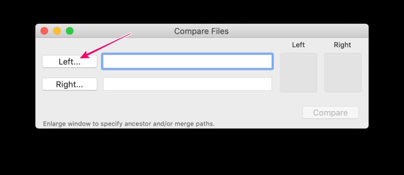 MacアプリFileMergeの使い方 「Left」ボタンをクリック