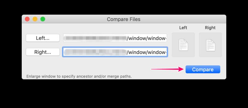 MacアプリFileMergeの使い方 「Compare」ボタンをクリック