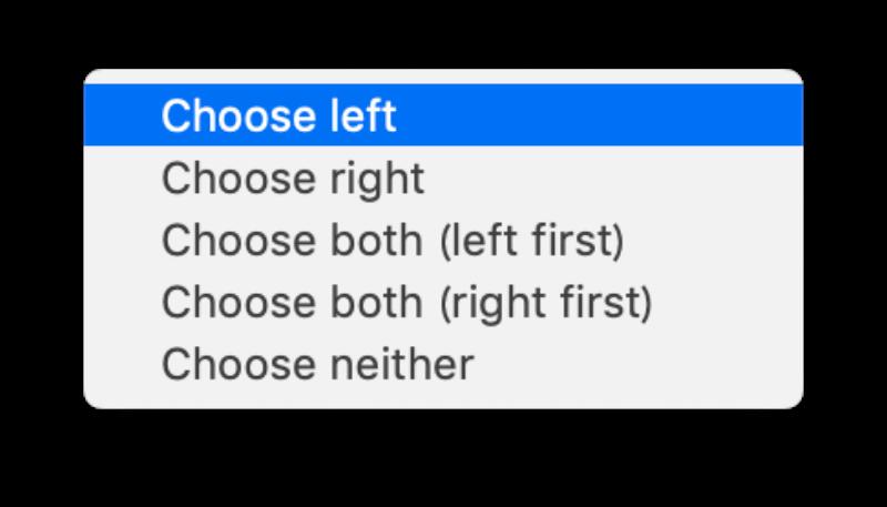 MacアプリFileMergeの使い方 「Choose left」を選択