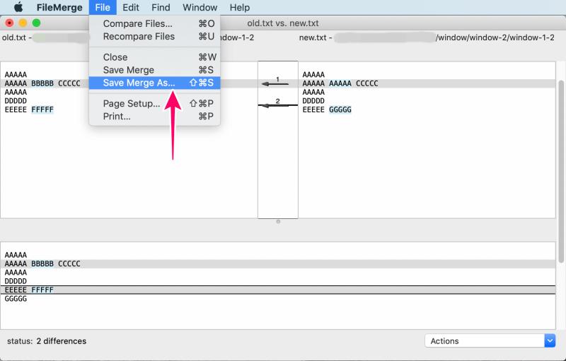 MacアプリFileMergeの使い方 「メニューバー > File > Save Merge AS...」を選択