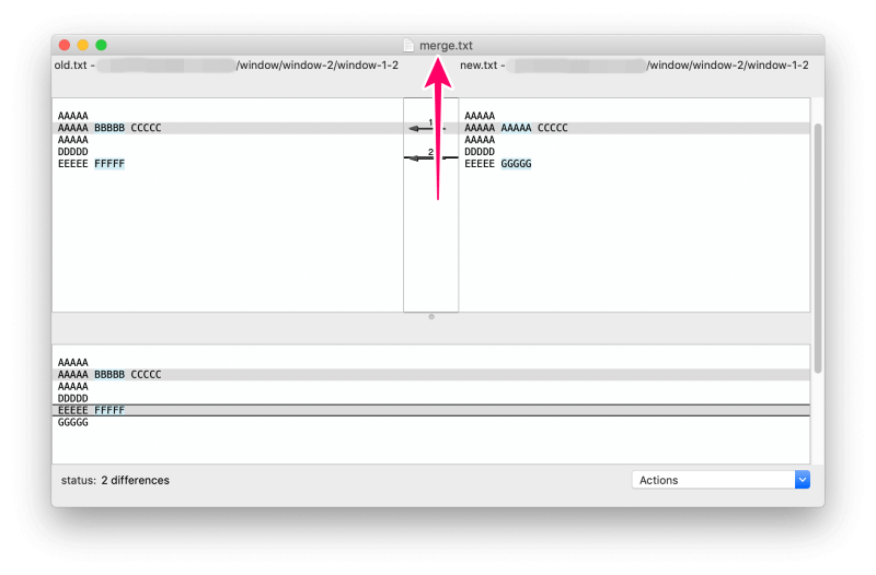 MacアプリFileMergeの使い方 ウインドウ上部中央に保存したファイル名が表示される