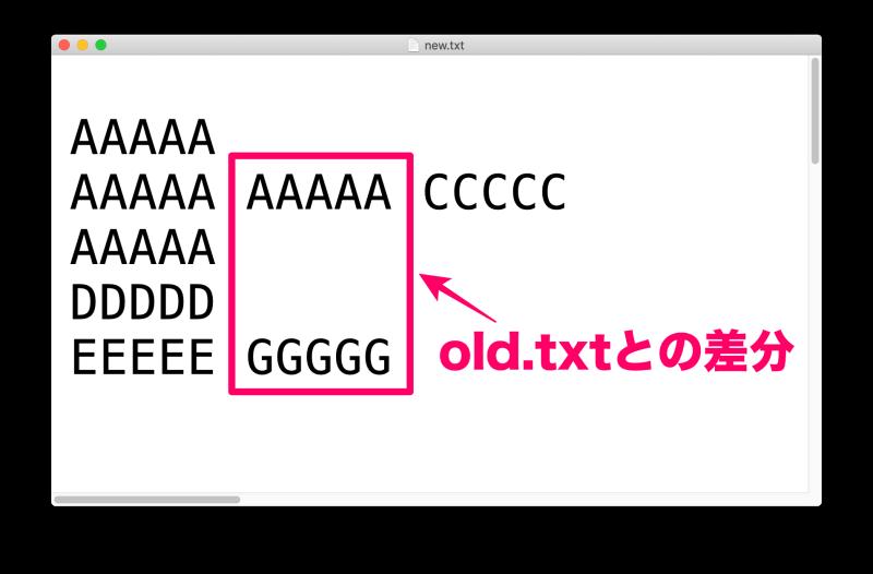 MacアプリFileMergeの使い方 ファイル「new.txt」の内容