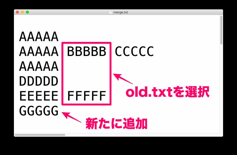 MacアプリFileMergeの使い方 ファイル「merge.txt」の内容