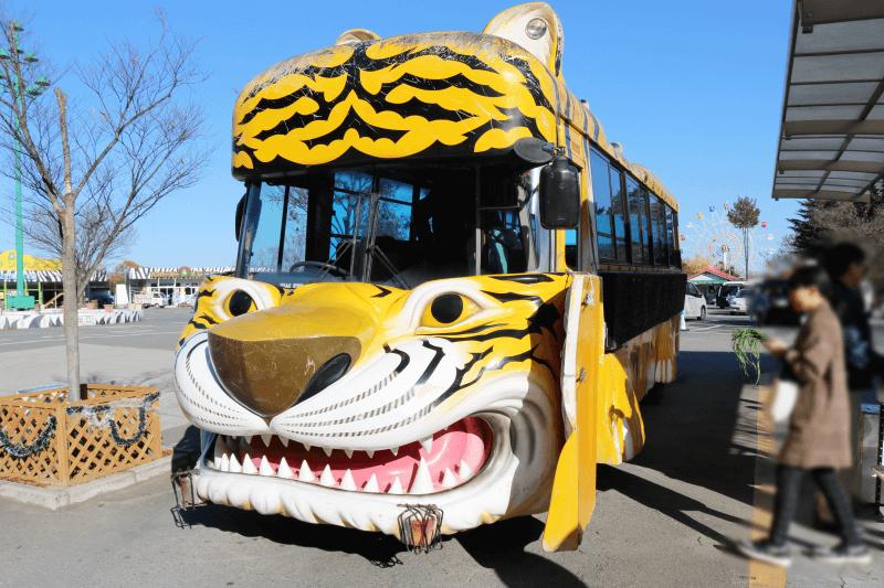 群馬サファリパークのエサやり体験バス(トラ)