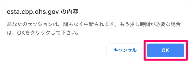 ESTA申請の入力中にメッセージが表示 日本語