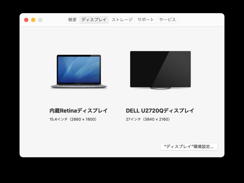 このMacについて > ディスプレイ