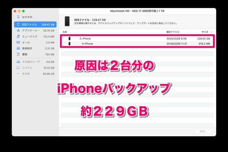 3.「iOSファイル」の詳細を確認